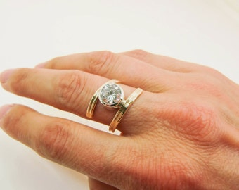 10 Karat Yellow Gold Bypass Ring - 10K Gold W/ Sterling Silver Tube Set 8MM Clear CZ - 10K Gold & Silver Bypass Ring