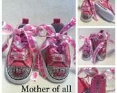 Swarovski Crystal Newborn Infant Converse Hi-Top Shoes - double crown