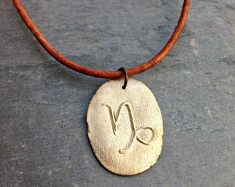 Capricorn symbol men's necklace handmade bronze pendant zodiac sign jewelry