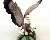 Porcelain Figurine, Bird, Eagle, Home Décor, Nature Theme, American Bird Species, Woodland, Rustic