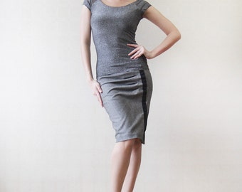 Grey silver shiny lurex fitted short sleeve top XS-S