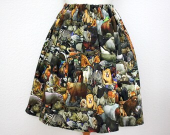 Skirt/ animals/ wildlife/ collage/ colour/ vibrant - Alive and ready