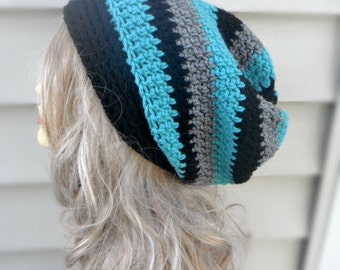 Multi Color Hat, Crochet Slouchy Hat, Winter Accessories, Womens Hat, Hair Accessories, Slouch Beanie, Womens Beanie