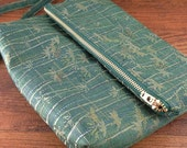 Vintage Kimono Fabric foldover clutch / wristlet purse - forest green with golden bamboo