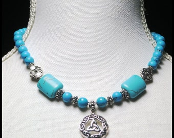 Celtic Pendant Necklace with blue gemstones and sterling silver beads. Sterling Silver Pendant. Turquoise, Howlite. Hand Made Jewelry OOAK