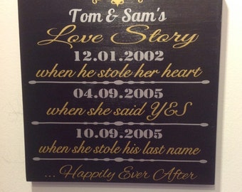 Important Date Custom Wood Sign. Personalized Love Story Wedding Date Sign, Wedding Gift, Engagement Gift, Anniversary Gift,  Silver & Gold