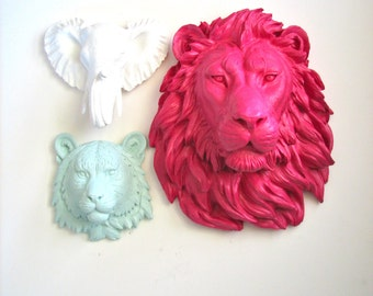 ANY COLOR SET 1 Large Lion and 2 Small Faux Taxidermy animal heads wall mount wall hangings.