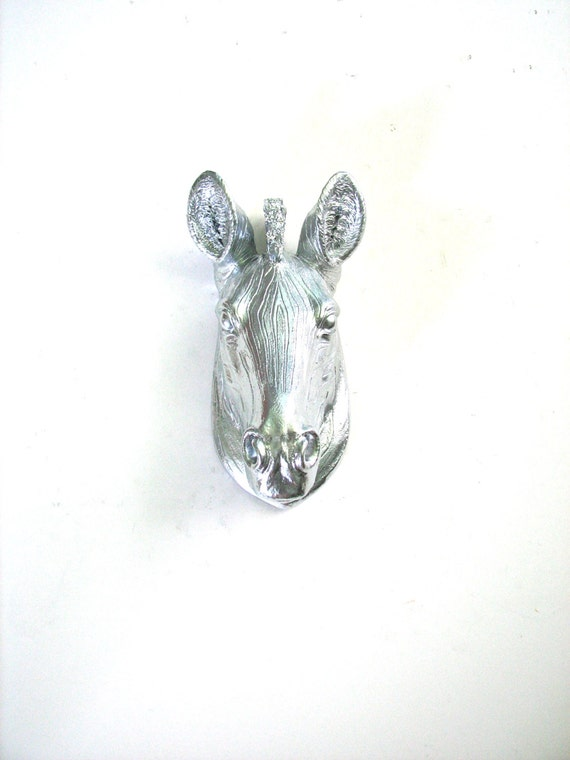 SILVER Faux Taxidermy Small Zebra Wall Hanging wall mount in silver / office wall decor / nursery wall decor / metallic wall decor / modern