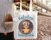Hedgehogs Ate My Homework Fair Trade Tote Bag, Reusable Shopper Bag, Cotton Tote, Shopping Bag, Eco Tote Bag