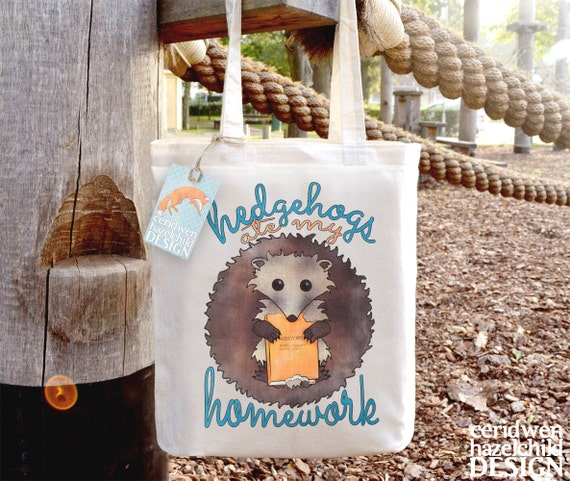 Hedgehogs Ate My Homework Tote Bag, Reusable Shopper Bag, Cotton Tote, Ethically Produced Shopping Bag, Eco Tote Bag