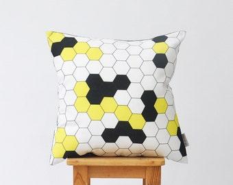 "Honeycomb Pillow, Decorative Pillow, Kids Throw Pillow, Geometric Nursery Pillow, Modern Yellow Black Cushion  16"" x 16"""