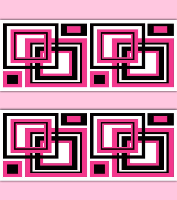 HOT PINK GEOMETRIC Square Wallpaper Border Decal Abstract Wall