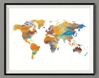 Travel Map Poster Watercolor World Map Poster Art Print , Gift Idea, Wall Hanging, Travel World Map Art Print - Summer Celebrations