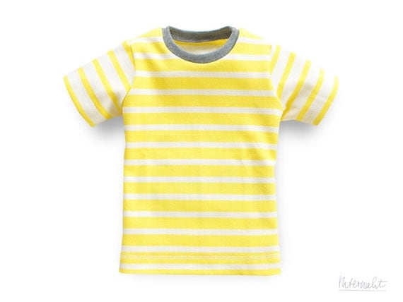 Items similar to toddler boy t-shirt yellow white striped, made of ...