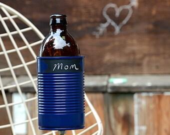 Chalkboard Hobo Tin Can Beer Holder/ Navy Blue Chalk Up Garden Drink Holder