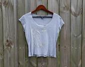 M Medium Vintage 90s GAP Grey Faded Flashdance Style Alternative Grunge Indie Hipster Summer Short Sleeve Shirt Top T-shirt