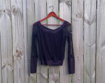 S Small Long Sleeve Black Fishnet Sheer 90s Goth Alternative Indie Grunge Club Kid Rave Sexy Vintage Shirt Blouse Top