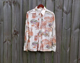 M Medium L Large Vintage 70s Trippy Pond Tree Novelty Print Button Up Dagger Collar Groovy Hippie Indie Hipster Long Sleeve Shirt Blouse