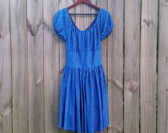 XS S Extra Small Vintage 70s Royal Blue Metallic Sparkly Disco Puff Sleeve Fit and Flare Party Prom Indie Hipster Grunge Dress