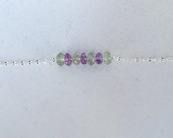 Sterling Silver Bracelet with Amethyst & Green Amethyst