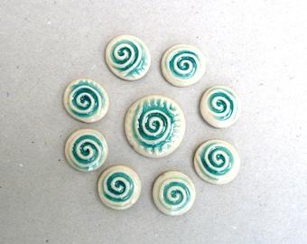Turquoise Porcelain Cabochons, Spirals Ceramic Flatbacks, Bead Applique Supplies