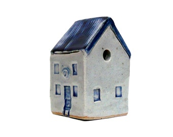 Farmhouse ,  Blue And White , Prairie House ,Ceramic Sculpture  Miniature House,  Cottage