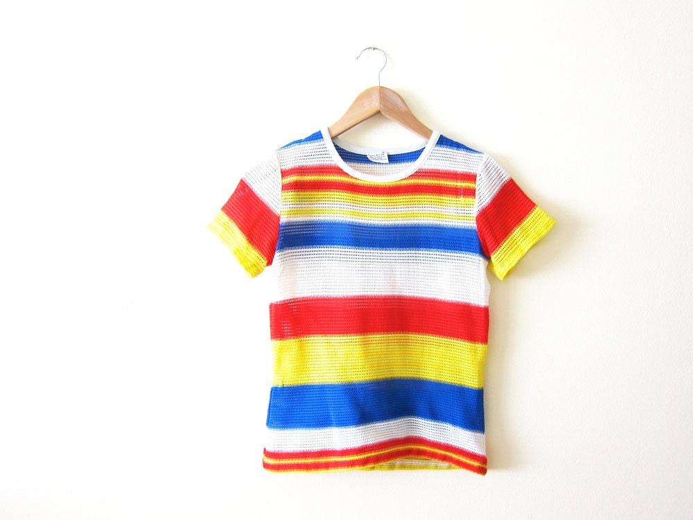 1970s Shirt Vintage Tshirt Mesh Shirt Rainbow Stripes