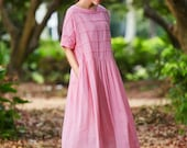 Pink Maxi Dress, Maxi Linen Dress, Plaid Dress, Oversized Linen Dress, Long Linen Dress, Loose Fitting Dress, Pink Dress, Linen Shirt Dress