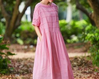 Pink Maxi Dress, Maxi Linen Dress, Plaid Dress, Oversized Linen Dress, Long Linen Dress, Loose Fitting Dress, Pink Dress, Linen Shirt Dress