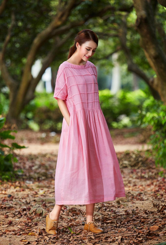 pink maxi dress maxi linen dress plaid dress by camelliatune