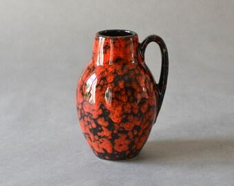 Vintage red vase wgp West German 414 - 16 pottery Scheurich Mid Century Modern ceramic