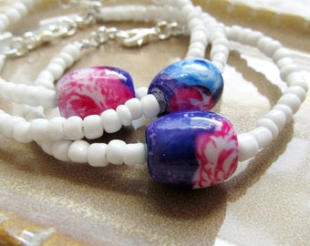 Floral and White Beaded Single Strand Bracelet - Pink and Purple Bracelet - CLEARANCE
