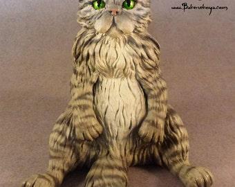 Persian Cat sculpture - Silver Tabby