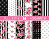 Pink and Black Digital Paper, Floral Digital Paper Pack, Pink Roses, Scrapbooking, Roses, Pink & Black Roses - INSTANT DOWNLOAD  - 1903