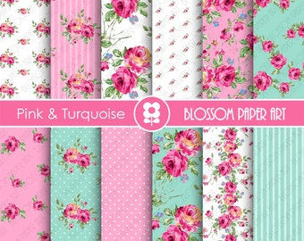 Pink Floral Papers, Light Blue Floral Paper Pack, Digital Scrapbooking, Rose Papers - INSTANT DOWNLOAD  - 1900