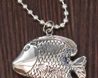 "Large Formed Puffy Sterling Silver Fish Pendant on 22"" Ball Link Chain - Great Detail - Beach - Lake - Low Country - Ocean Pendant"