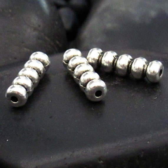 Unique pewter ribbed tube spacer beads set of bead