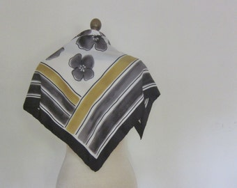 Black silk scarf, urban chic, stripe silk scarf, floral scarves,  stripes and flowers,  square, hand rolled, vintage scarf