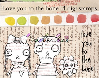 Love you to the bone-whimsical skeleton couple digi stamp set available for instant download