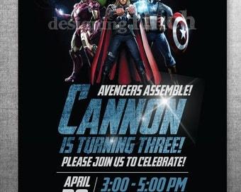 Avengers Assemble Birthday Invitation, Marvel, Printable & Customizable, 5x7  #147