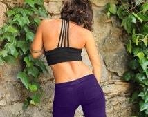 Strappy Crop Top-yoga sports bra-workout crop top-funky clothing-sexy dance top-hooping clothes-crop top-red tops-unique crop top-cotton top