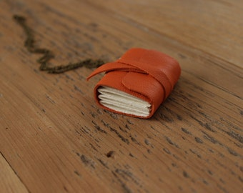 Wearable Necklace - Orange Mini-Book with Chain