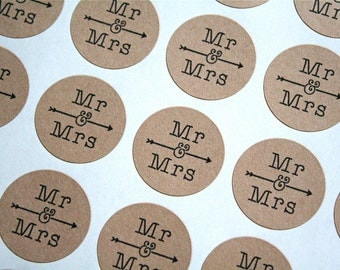 "Wedding stickers, favor labels.  1"" round stickers, set of 63.  Matte white or Kraft brown. Mr and Mrs with arrow."