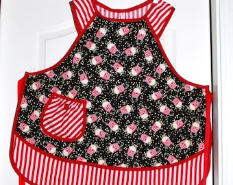 Girls Retro Kitchen Apron-Red and Black Popcorn Print Size 12