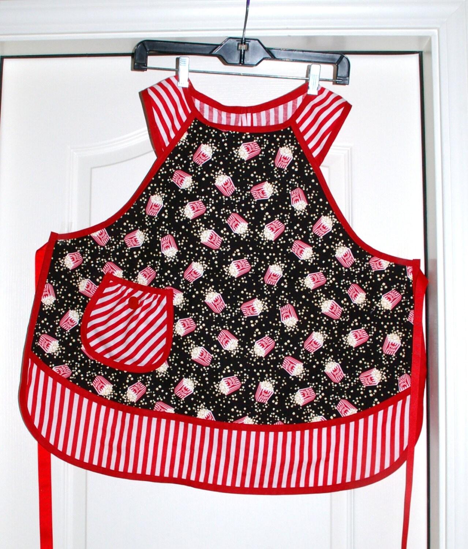 Retro Kitchen Aprons: Girls Retro Kitchen Apron-Red And Black Popcorn Print Size 12