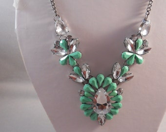Bib Necklace with Turquoise and  Clear Crystal  Pendant on a Gray Tone Chain