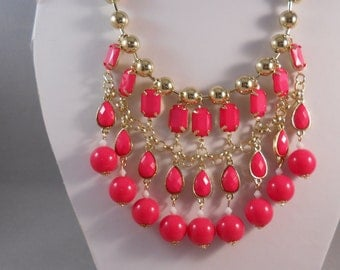 3 Row Bib Necklace with Gold Tone and Deep Pink Beads on a Gold Tone Chain