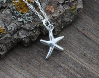 Sterling Silver Starfish necklace-  Ocean Beach Charm Necklace- Starfish pendant-Starfish Charm. Small Starfish necklace.