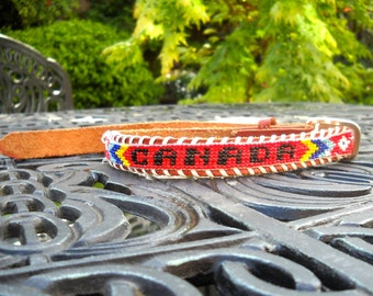 SPRING SALE--Vintage Beaded Belt, Canada Souvenir, Child Size, Kitschy and Cute