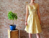 1960s Vintage Gold Brocade Dress - Cocktail - Party - Formal - Crinoline - Mad Men - Early 60s - Wedding